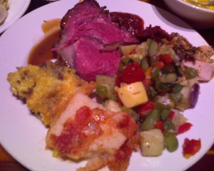 Dinner, Day 34 - Grilled meats, nut-crusted salmon, bobotie, curry